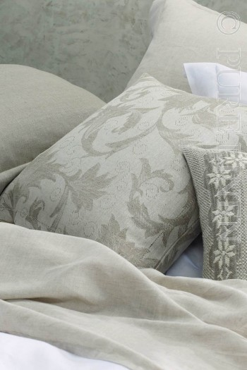 Guell Cushions Damask Hem Stitched Colour Natural Flax Size 50x50