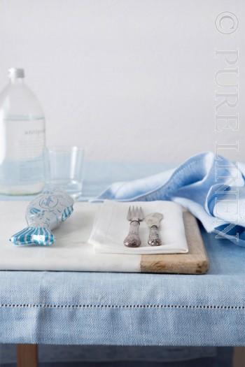 Modern Classic Napkins Herringbone Blue by PURE LINEN