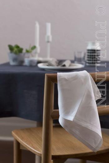 Modern Classic Napkins Single Hem Optical White by PURE LINEN
