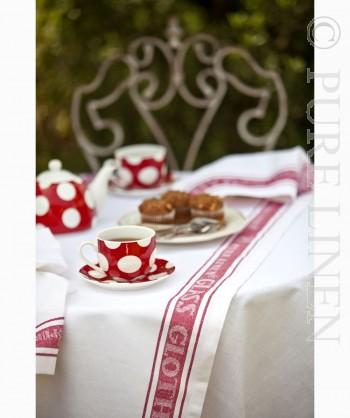 Pure Linen Glass Cloth Runner White & Red Border