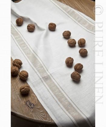 Pure Linen Glass Cloth Runner White & Natural Border