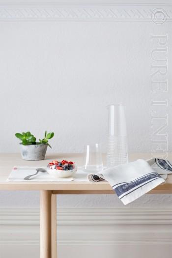 Pure Linen Glass Cloth Napkins White & Black Border Size 50x50