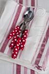 Agnes Napkins Colour White & Red Stripe Size