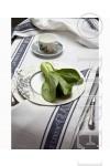 Pure Linen Glass Cloth Runner White & Black Border
