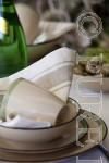 Pure Linen Glass Cloth Napkins White & Natural Border