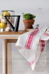 Pure Linen Glass Cloth Napkins White & Red Border Size 50x50